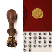 Fashion Alphabet Letter A Retro Wood Sealing Wax Classic Initial Wax Seal Stamp = 1946679108