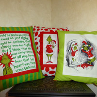 How the GRiNCH Stole Christmas PiLLOWS 15X9 BoUTIQUE HANDMaDE Beautifully Crafted - Contasting FABRIC on Back Side - Designs by Sugarbear
