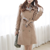 Light Tan Long Sleeve Coat with Belt