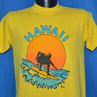 70s Hawaii Poly Tees Surfing Sunset t-shirt Small