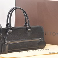 Authentic Louis Vuitton Monogram Op Art Longitude Hand Bag Black LV 41051