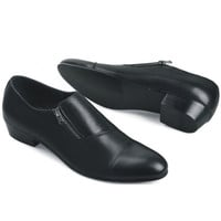 Genuine Leather Men's Fashion Dress Shoes with Zip Design