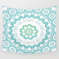 Your Vibe Attracts Your Tribe Wall Tapestry by ALLY COXON