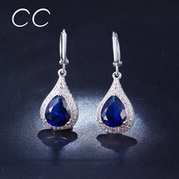 Water Drop Crystal Dangle Earrings for Women White Gold Plated Vintage Long Drop Earring Boucle d'Oreille Sapphire-Jewelry ME020