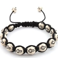 2 Pieces of White with Black Cross Beaded Adjustable Bracelet Macrame Shamballah