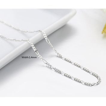 Italy Made Slim 925 Sterling Silver Figaro Chains Choker Necklace Women Jewelry kolye collier collares ketting collane 35-70cm