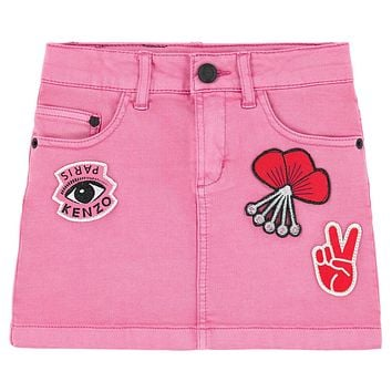 Girls Pink Jeans Skirt with Patches