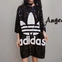 """""""Adidas"""" Summer Loose Fashion Clover Letter Sequin Middle Sleeve T-shirt Mini Dress"""