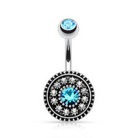 Multi Paved Vintage Victorian Style Shield CZ Belly Button Ring 316L 14g Navel Ring