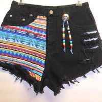 Black  High Waist Denim Shorts Tribal Print  by Turnupthevolume