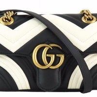 Gucci Black and White Quilted Leather Marmont Matelasse Mini Crossbody Bag