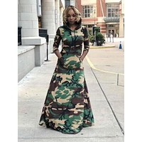 New Army Green Camouflage Pockets Long Sleeve Floor Length Hooded Casual Maxi Dress