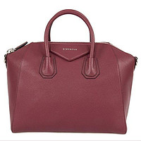 Givenchy Women's Antigona Sugar Goatskin Leather Satchel Bag, Oxblood Red