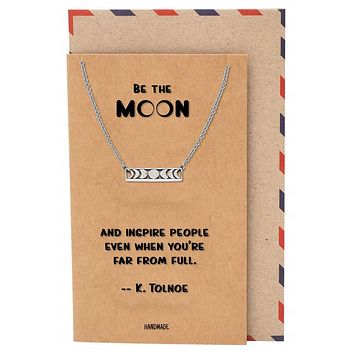 Marsha Moon Pendant Necklace, Gifts For Women, Birthday Gifts with Inspirational Quote
