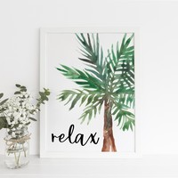 Relax Tropical Palm Art Print