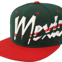 Mexico Giant Font Embroidered Flat Bill Snapback Cap (Green/Red)