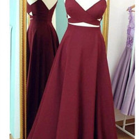 A-Line Burgundy Long Prom Dresses,Prom Dress