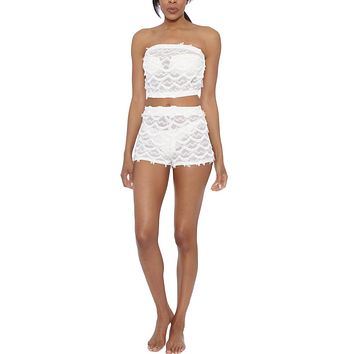 Lace Strapless Bandeau Crop Top - Ivory White