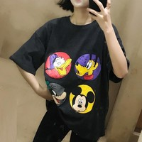 Women Fashion Casual Disney Cartoon Print Short Sleeve Loose Oversize T-shirt Top Tee
