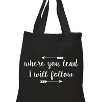 """Gilmore Girls """"Where you lead, I will follow"""" 100% Cotton Tote Bag"""