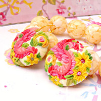 Yellow Pink Spring Earrings, Mexican Style Folk Earrings, Polymer Clay Earrings, Flower Earrings, Polymer Clay Jewelry, Dangle Earrings
