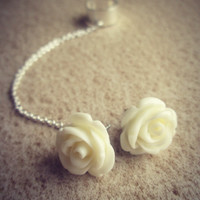 Ivory cream rose ear cuff with chain / rose post earring set. Free U.S. shipping thru June