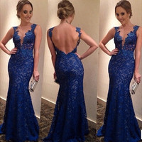 Mosaic Backless Stylish Lace V-neck Ball Gown Fashion Prom Dress = 5861459265