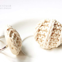 Ivory Beige Faux Knit Minimalist Statement Rings Adjustable Winter Fashion Look Bridesmaids Jewelry