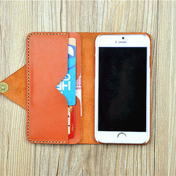 Leather iPhone 6s Case, iPhone 6s Plus Sleeve, iPhone 6 Wallet, iPhone 6 Plus Cover, Orange Phone Case , Personalized, G114