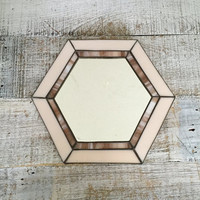 Wall Mirror Stained Glass Mirror Pink Glass Mirror Handmade Hexagon Shaped Mirror Cottage Chic Mirror Marble Glass Hanging Mirror Boho Decor