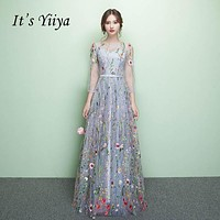 It's Yiiya Floral Illusion Backless Print Zipper A-line Evening Dresses Floor Length Party Gown Evening Gowns Prom Dresses LX030