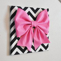 "Large Pink Bow on Black and White Chevron 12 x12"" Canvas Wall Art- Baby Nursery Wall Decor- Zig Zag"