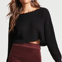 Frayed Cropped Sweater