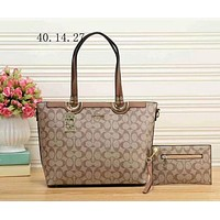 Perfect Coach Women Leather Handbag Tote Shoulder Bag Clutch Bag Set Two-Piece