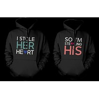 Stealing Hearts Romantic Couple Hoodies His and Her Matching Outfit