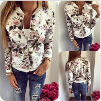 Casual flower print jacket women