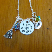 """Hocus Pocus Inspired Halloween Necklace. """"I put a spell on you"""". Swarovski Crystals. Silver colored. Hand Stamped. Witch necklace."""