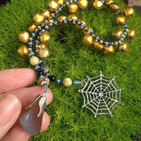 WITCH'S LADDER Rosary Spider  Web Agate creation creativity protective witches ladder Nymph-ish OOAK