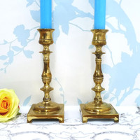 Pair of Brass Candle Sticks, Small Candlesticks x 2, Candleholders, Holders, Solid Brass, Candles and Holders, For Taper Candles, 0716