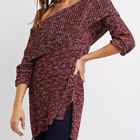 Shaker Stitch Off-The-Shoulder Sweater