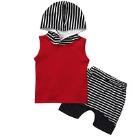 Baby Boy Clothes Sleeveless Hooded Tops Striped Shorts Pant 2PCS Outfits Toddler Kids Clothing Set
