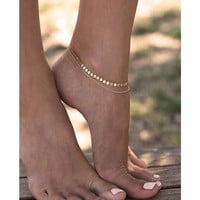 Gold / Silver Double Strands Chain  Sequins Anklet