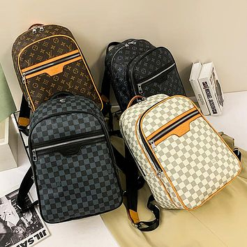 LV Fashion classic print backpack large capacity leisure travel bag Daypack