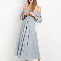 Cindy Stripe Off The Shoulder Dress By New Revival