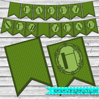 Happy New Year Banner – Printable Olive Green New Years Banner –  Printable New Year Decoration – DIY Printable Banner – INSTANT DOWNLOAD