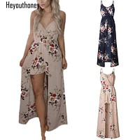 Heyouthoney Floral Print V Neck Spaghetti Sleeveless Jumpsuit for Women Playsuits Rompers Summer Beach Sexy Maxi Long Overalls