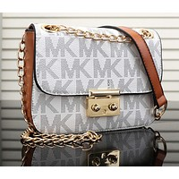 MK Trending Ladies Shopping Bag Leather Satchel Crossbody Signature Shoulder Bag White I