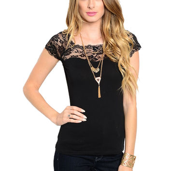 Cap Sleeve Top W/ Lace Trimmed Neckline