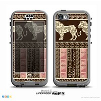 The Aztec Pink & Brown Lion Pattern Skin for the iPhone 5c nüüd LifeProof Case