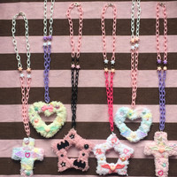 Kawaii Fairy Kei Spank Pop Kei Harajuku Lolita Dolly Cult Party Pastel Goth Rainbow Fuzzy Deco Necklaces (Assorted Shapes Available)
